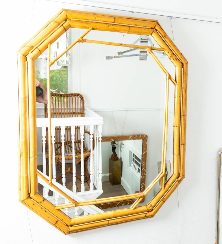 Octagonal Bamboo Surround Mirror with Brass Details In Good Condition For Sale In Bridgehampton, NY