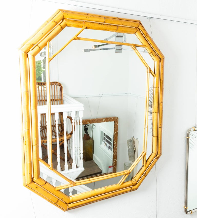 20th Century Octagonal Bamboo Surround Mirror with Brass Details For Sale