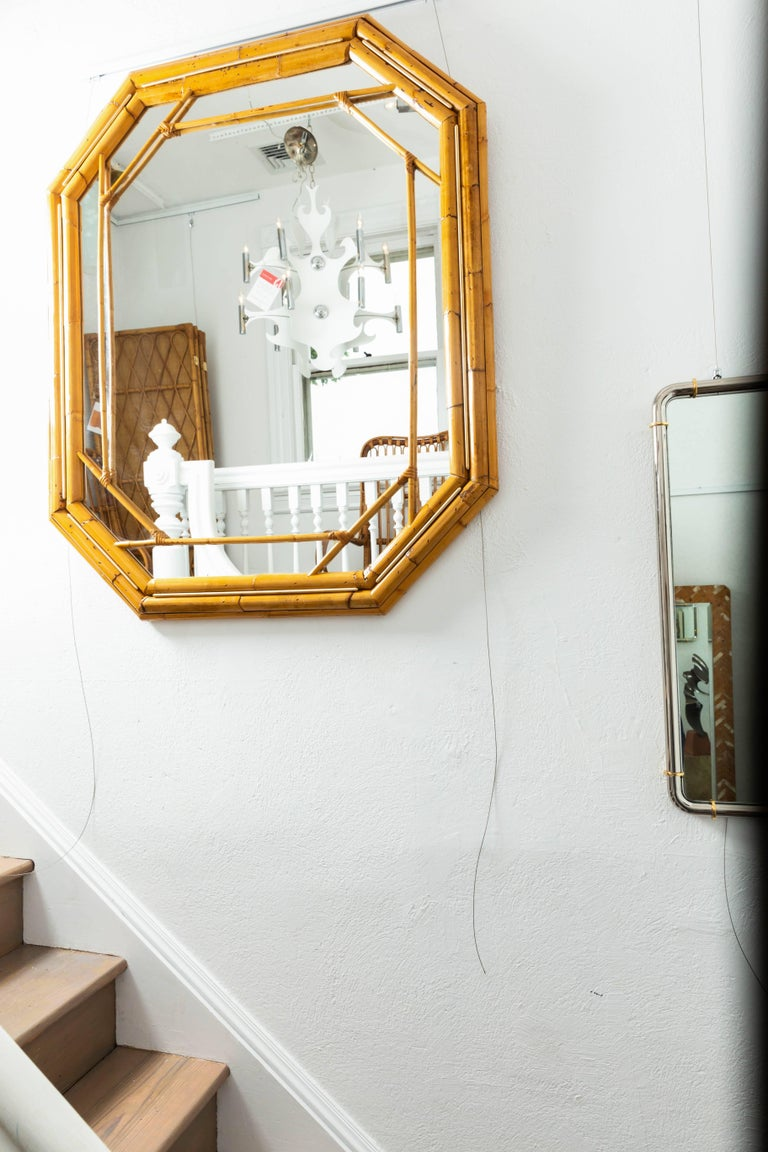 Octagonal Bamboo Surround Mirror with Brass Details For Sale 2
