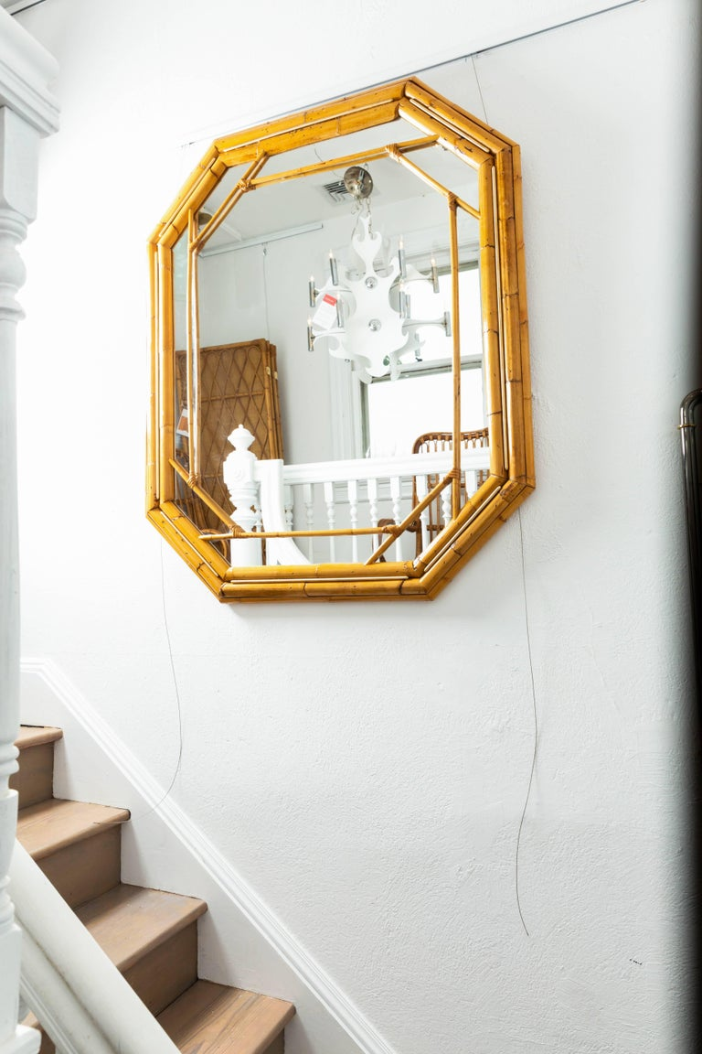 Octagonal Bamboo Surround Mirror with Brass Details For Sale 3