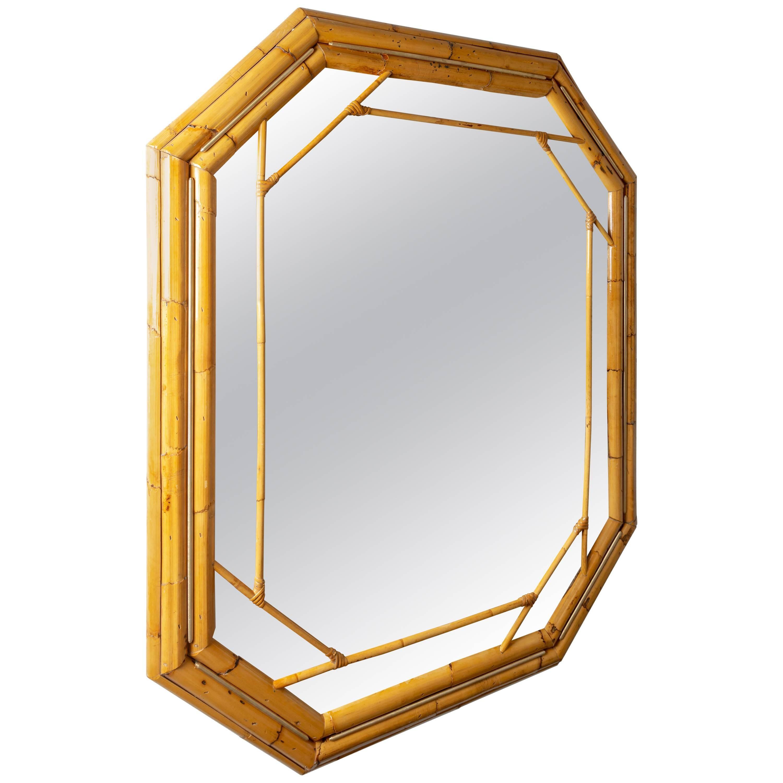 Octagonal Bamboo Surround Mirror with Brass Details