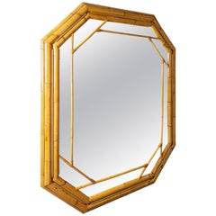 Octagonal Bamboo Surround Mirror with Brass Details