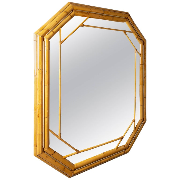 Octagonal Bamboo Surround Mirror with Brass Details For Sale