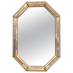 Octagonal Beaded Gilt Gold Wall Mirror with Venetian Mirrored Borders