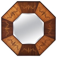Octagonal Beveled Mirror with Inlaid Frame of Mahogany from England
