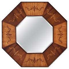 Octagonal Beveled Mirror with Inlaid Frame of Mahogany from England (Dia 26 1/2)