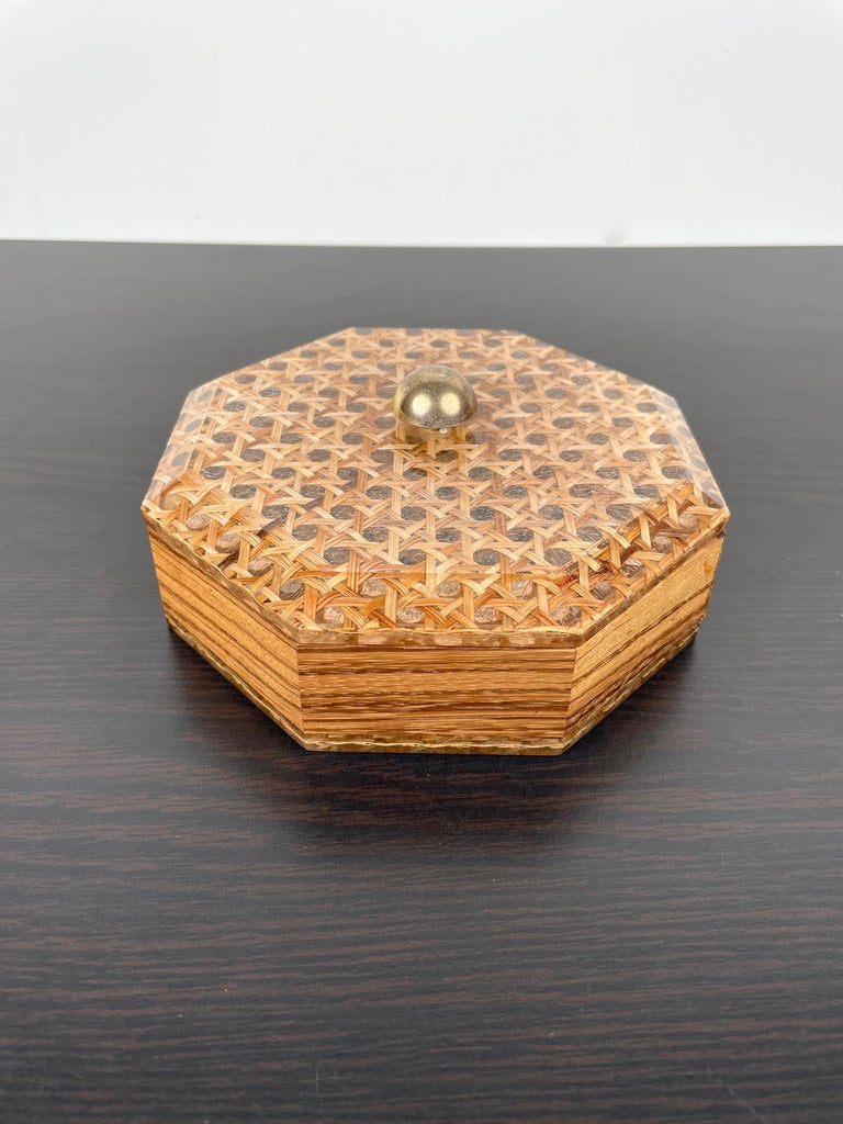 Mid-Century Modern Octagonal Box in Lucite Wicker Wood and Brass Christian Dior Style, France 1970s For Sale