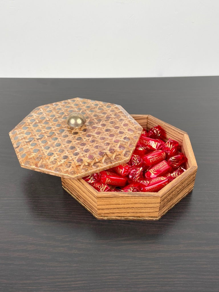Metal Octagonal Box in Lucite Wicker Wood and Brass Christian Dior Style, France 1970s For Sale