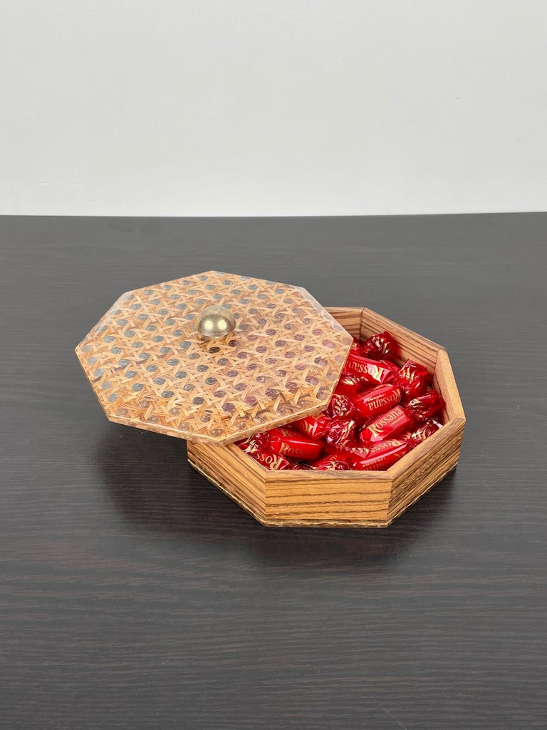 Octagonal Box in Lucite Wicker Wood and Brass Christian Dior Style, France 1970s For Sale 1