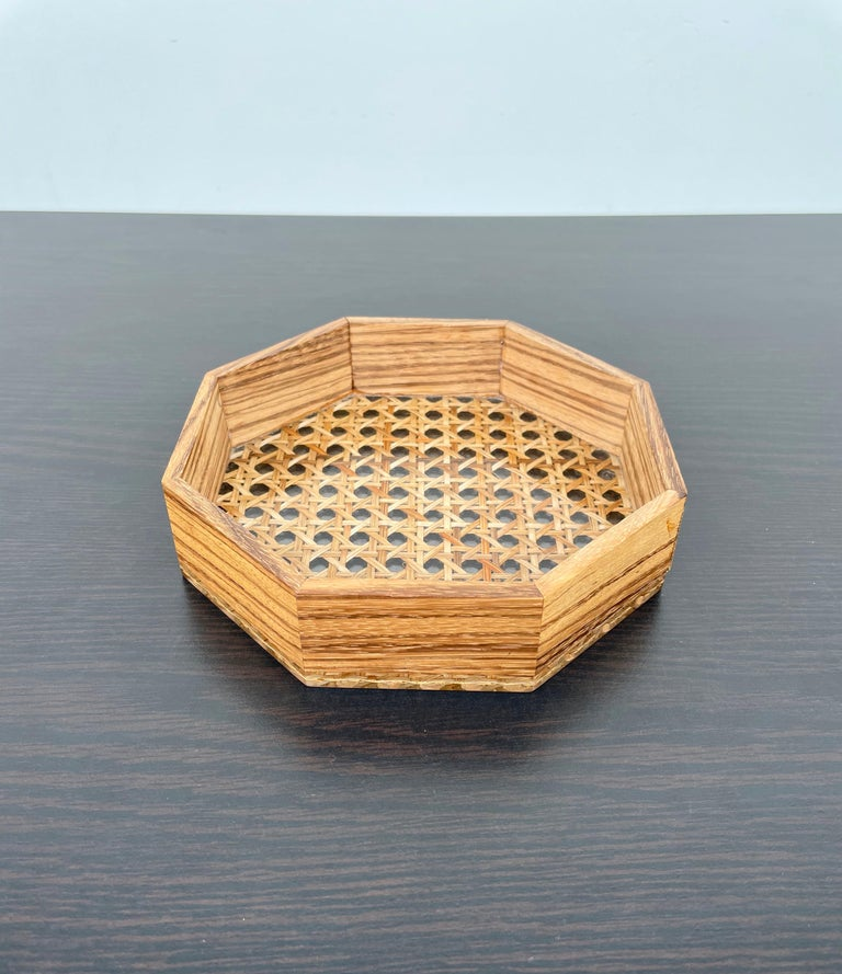 Octagonal Box in Lucite Wicker Wood and Brass Christian Dior Style, France 1970s For Sale 2