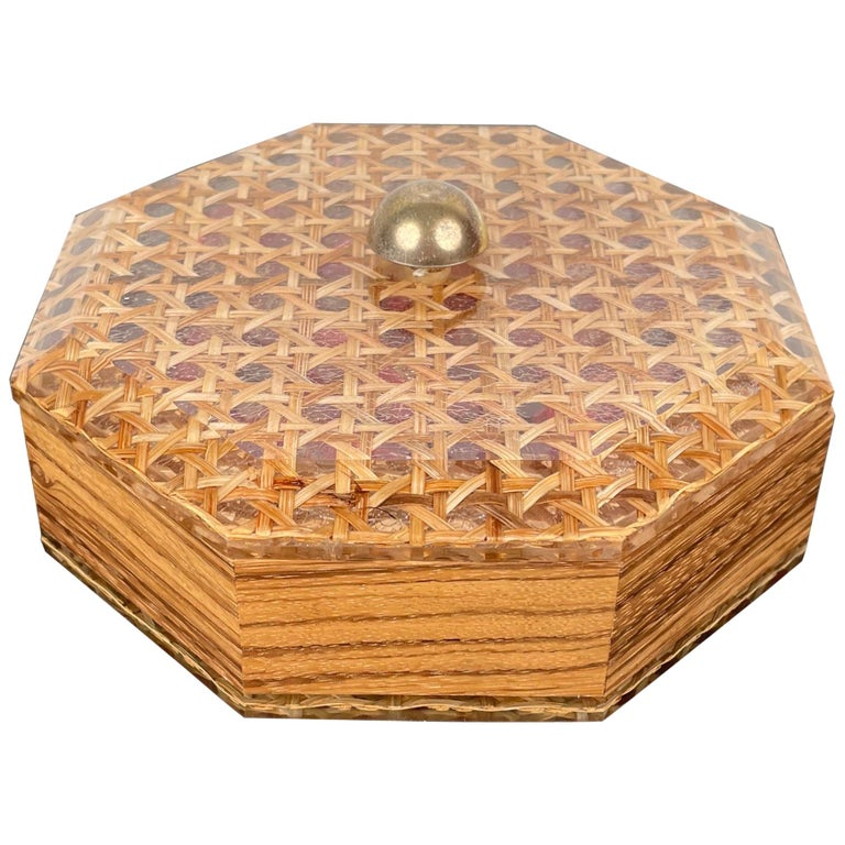 Octagonal Box in Lucite Wicker Wood and Brass Christian Dior Style, France 1970s For Sale