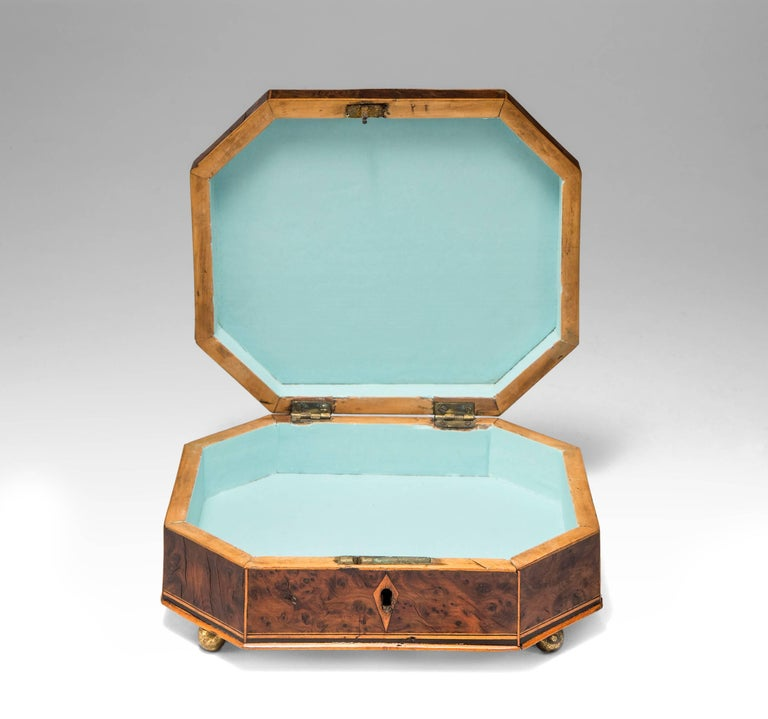 Biedermeier Octagonal Box with Playing Cards For Sale
