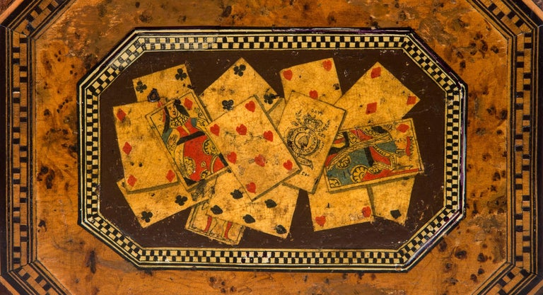 19th Century Octagonal Box with Playing Cards For Sale