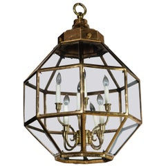 Octagonal Brass Lantern, Two Available