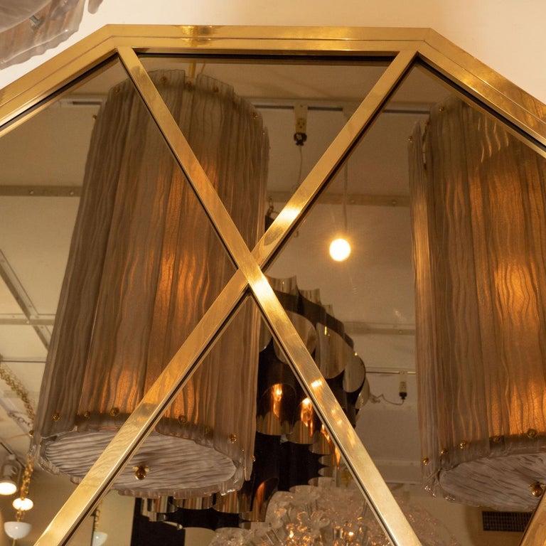 Mid-Century Modern Octagonal Brass Mirror with Diamond Design For Sale