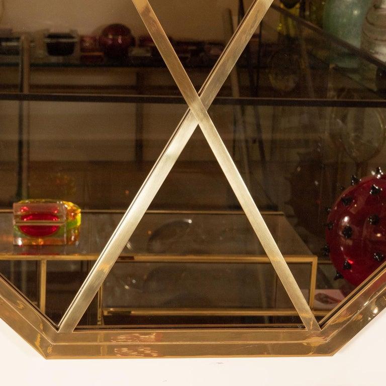 Italian Octagonal Brass Mirror with Diamond Design For Sale