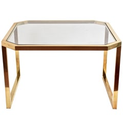 Octagonal Brass Table and Glass Top, Italy, 1970s, Mid-Century Modern