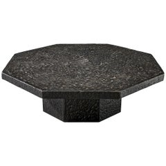 Octagonal Brutalist Coffee Table with Stone Look