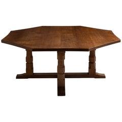 "Octagonal Centre Table by Robert ""Mouseman"" Thompson, England, circa 1950"