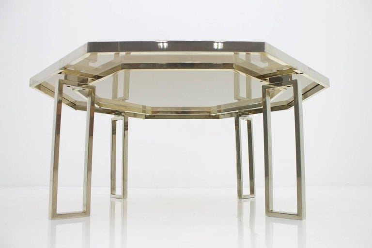 French Octagonal Coffee Table with Metal Base and Glass Top, 1960s For Sale