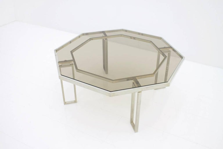 Octagonal Coffee Table with Metal Base and Glass Top, 1960s In Good Condition For Sale In Frankfurt / Dreieich, DE