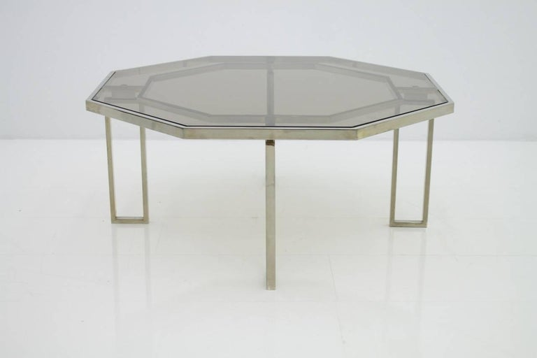 Mid-20th Century Octagonal Coffee Table with Metal Base and Glass Top, 1960s For Sale