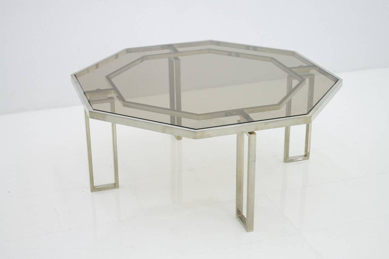 Octagonal Coffee Table with Metal Base and Glass Top, 1960s For Sale 1