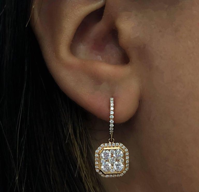 Contemporary 18 Karat Rose Gold Classic Octagonal Dangling Diamond Earrings  For Sale