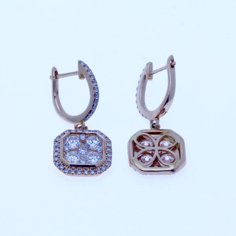 Round Cut 18 Karat Rose Gold Classic Octagonal Dangling Diamond Earrings  For Sale
