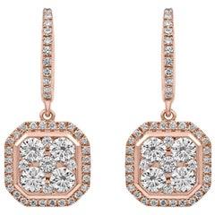 Octagonal Dangling Diamond Earrings Rose Gold