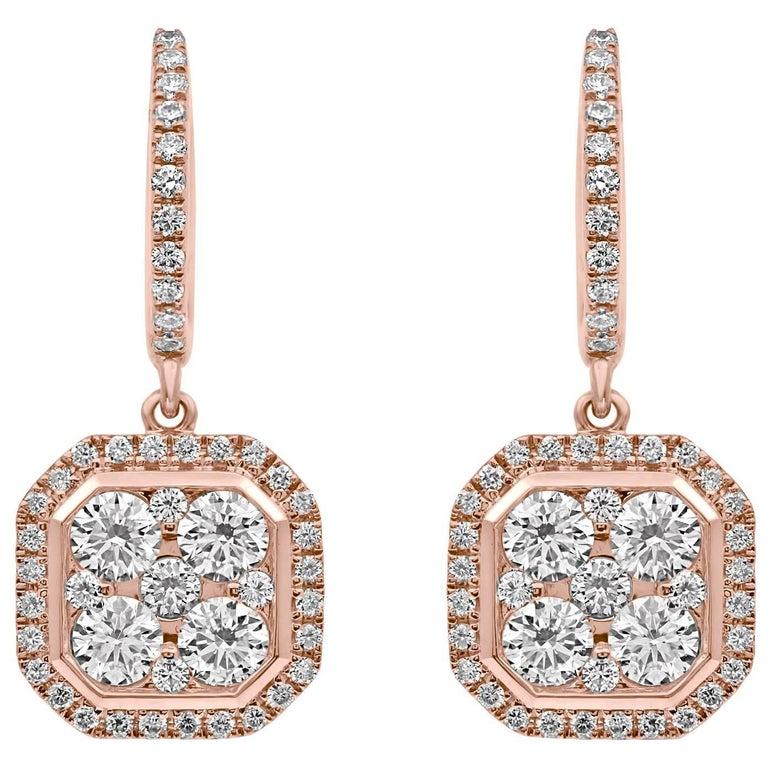 18 Karat Rose Gold Classic Octagonal Dangling Diamond Earrings  For Sale
