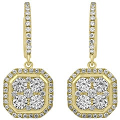 Octagonal Dangling Diamond Earrings Yellow Gold