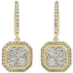 Octagonal Dangling Diamond Earrings Yellow Gold