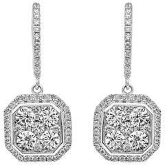 18 Karat White Classic Gold Octagonal Dangling White Diamond Earrings