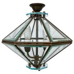 Octagonal Diamond Chandelier Lantern Brass and Glass Fontana Arte, Italy, 1950s