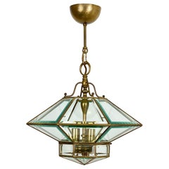 Octagonal Diamond Chandelier Lantern Brass and Glass Fontana Arte Style, Italy