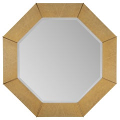 Octagonal Faux-Shagreen and Brass Mirror by Karl Springer, Circa 1970s