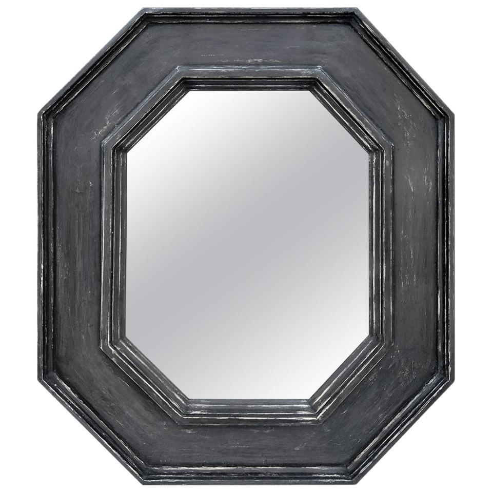 Octagonal French Mirror, Slate Grey Color by Pascal & Annie