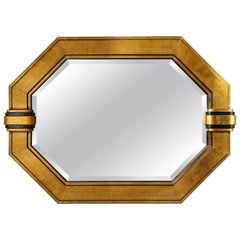 Octagonal Gilded and Ebonized Bevelled Mirror