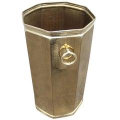 Octagonal Golden Brass Umbrella Stand Italian Design 1970s Hammered