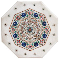 Octagonal Hand-Carved Marble Table with Pietre Dure Inlay Mosaic