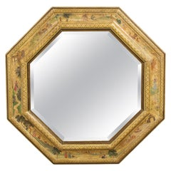 Octagonal Hand Painted and Gilt Mirror