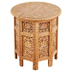 Octagonal Inlaid Teak Tabouret Moroccan Drink Table