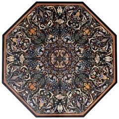 Octagonal Italian Pietre Dure Hardstone Mosaic Inlay Black Marble Table Top