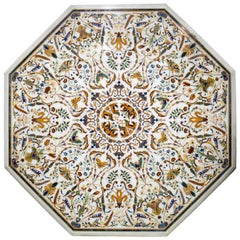 Octagonal Italian Pietre Dure Mosaic Inlay Carrara White Marble Table Top
