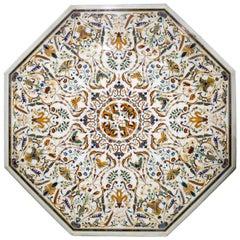 Octagonal Italian Pietre Dure Mosaic Inlay Carrara White Marble Table Top
