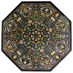 Octagonal Italian Pietre Dure Mosaic Inlay Marble Table Top
