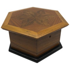 Octagonal Jewelry Box Star Inlaid Wood Antique
