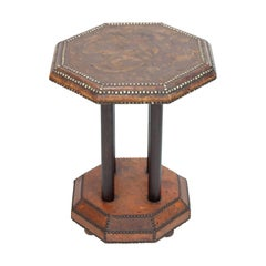 Octagonal Leather Side Table
