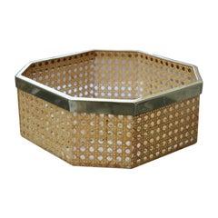 Octagonal Lucite Tray Bowl Straw Brass Italian 1970 Gabriella Crespi Style